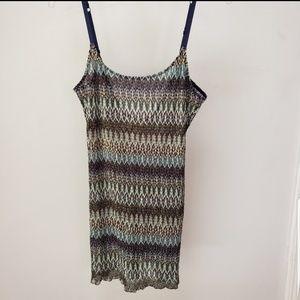 Anthro Free People slip dress striped woven night